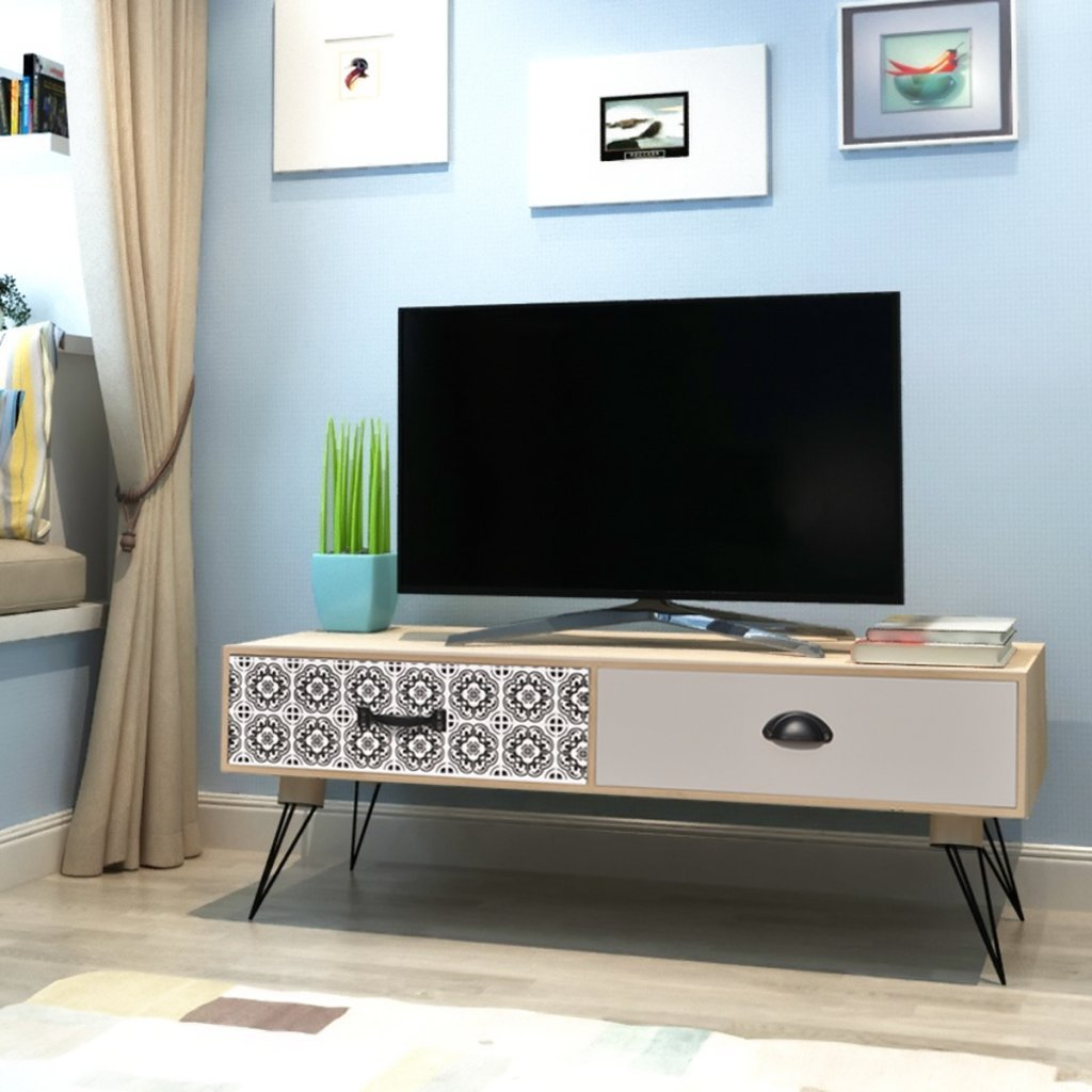 Festnight Tv Cabinet Solid Wood Tv Stand Unit With 2 Drawers For