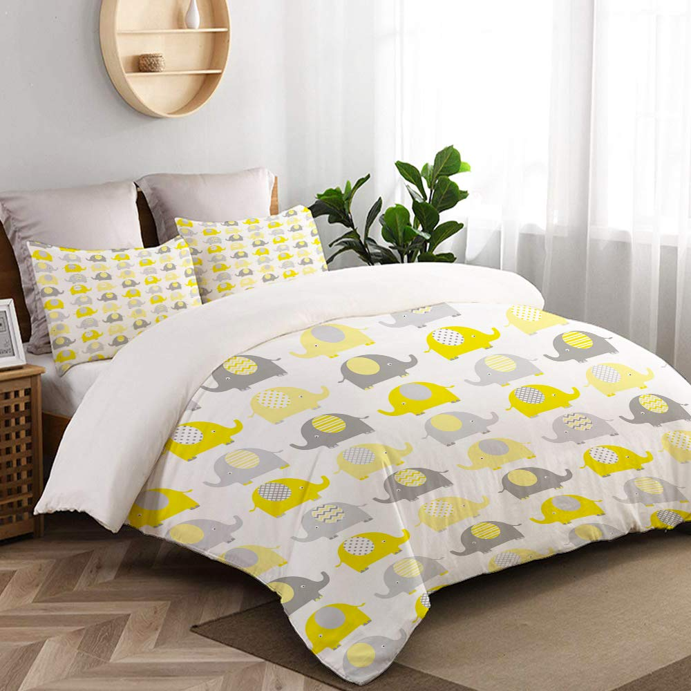 CANCAKA Yellow and Grey Cute Elephant Collection Cartoon Animals with Different Patterns College Dorm Room Decor Decorative Custom Design 3 PC Duvet Cover Set Twin/Twin Extra Long