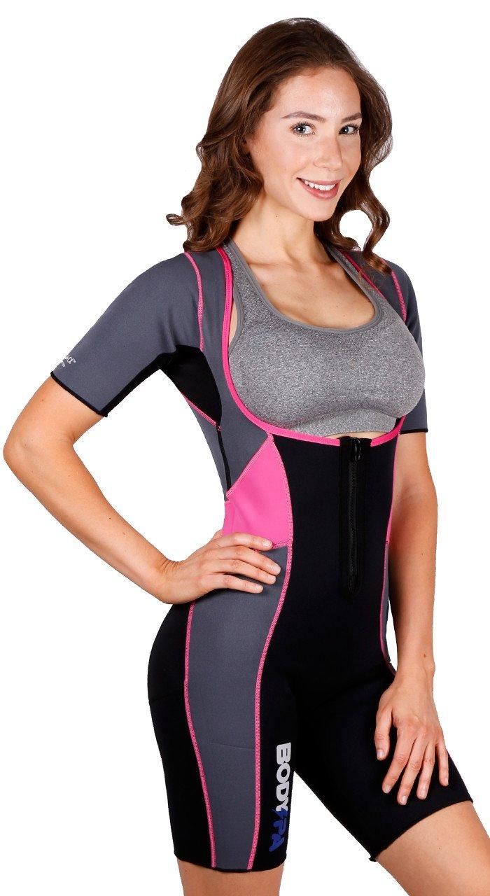 Body Spa Light Body Sauna Suit Neoprene Full Body Shaper Gym Sport Aerobic (Med, Pink w/Grey) 14262