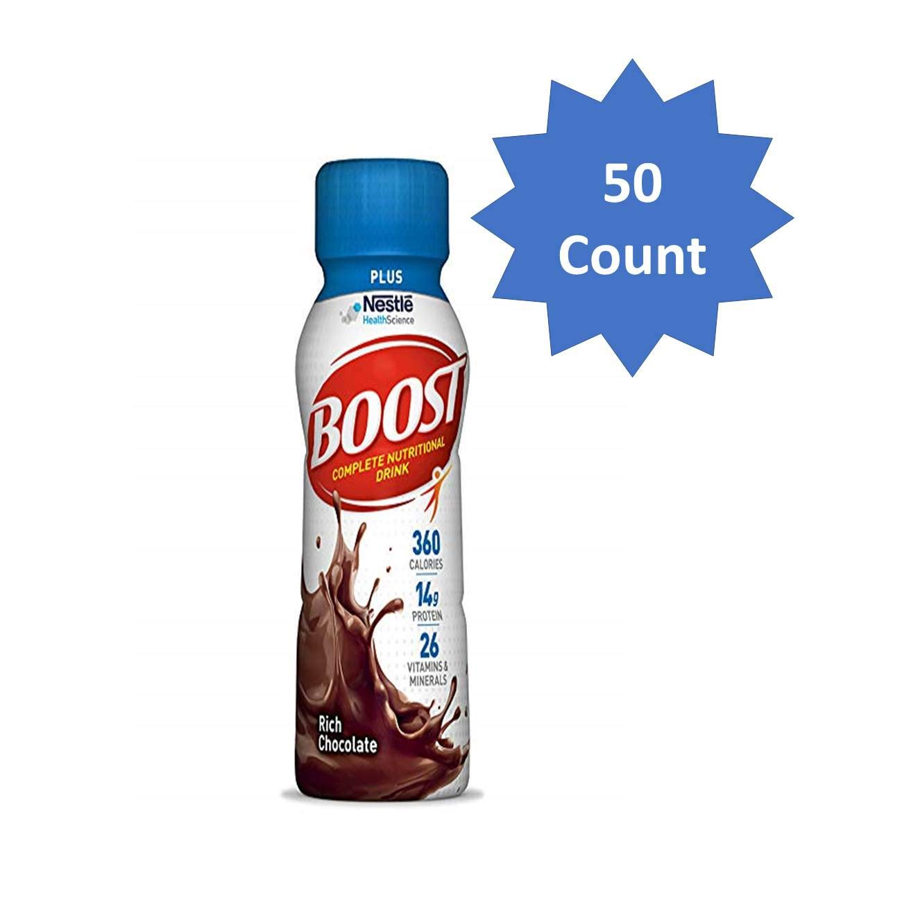 Boost Plus Complete Nutritional Drink, Rich Chocolate, 8 fl oz Bottle, 50 Count (Chocolate - 50 Count) by Boost Nutritional Drinks