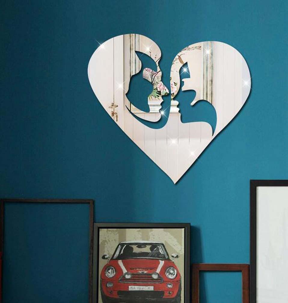 GxNI Spiegel Wandaufkleber, Hintergrund Wanddekoration Dreidimensionale Spiegelpaste, kreative Männer und Frauen Modelle Größe  45  36.8cm, rot B077GYYLPV     | Förderung