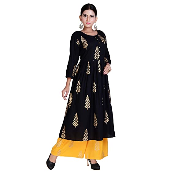 6cff5845a6 Marlin Women's Rayon Kurtis Palazzo (PLS-04, Black and Yellow, Small Bust