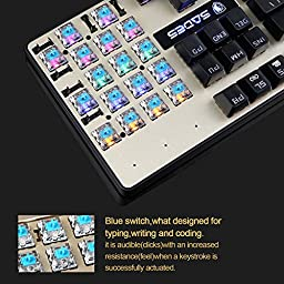 SADES K10 LED Backlit Wired USB Mechanical Gaming Keyboard with Blue Switches - Black / Gold