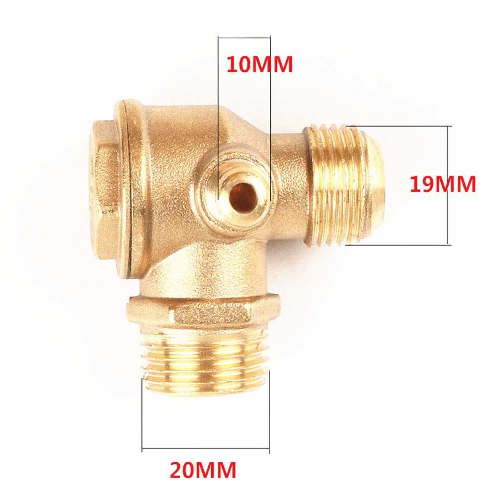 Liyafy 3-Port Brass Air Compressor Check Valve Male Thread Pipe Connector Tool 2PCS