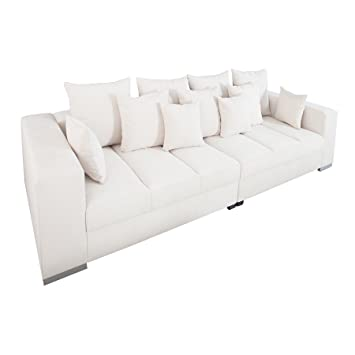 Design XXL Sofa BIG SOFA ISLAND Soft Baumwolle Beige Inkl Kissen Couch Garnitur Wohnzimmer