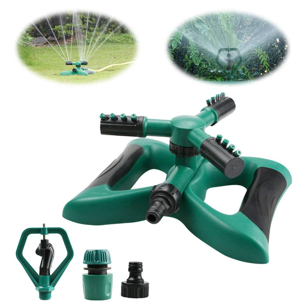 360/° Rotating Lawn Sprinkler with a large area of Coverage Aiqilai Garden Sprinkler Adjustable Weighted Gardening Watering System,Hose Easy to Connect