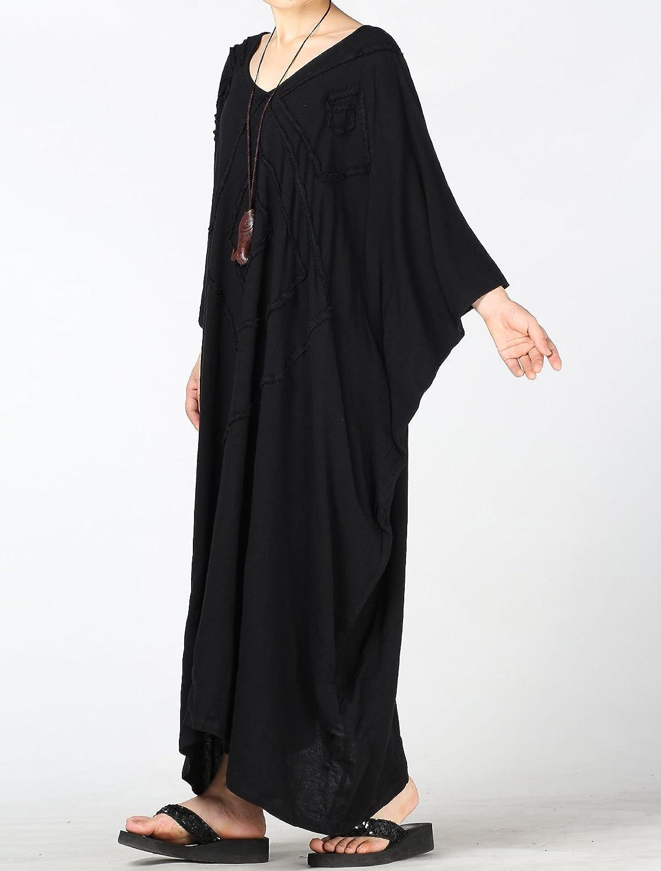 ff3655b335b54a ... MatchLife Damen Kaftan Tunika Kimono Kleid Bat Ärmel Maxi Leinenkleid  Mittelalter lang Kleider ...