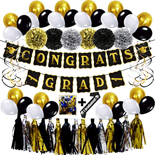 Graduation Decoration Kit Graduation Party Supplies Graduation Party Favors Gold Foil Graduation Banner/Foil Swirl/Latex Balloons/Graduation Confetti/Tissue Pom Poms /Foil Garland/Graduation Sash - 46 -