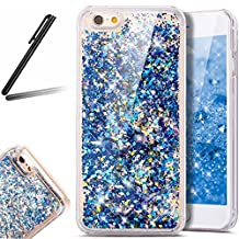 iPhone 6 Plus Glitter Case,iPhone 6S Plus Case,SKYMARS 3D Flowing Liquid Floating Luxury Bling Glitter Protective Transparent Hard Case Cover for iPhone 6 / 6S Plus Diamonds Diamonds Blue