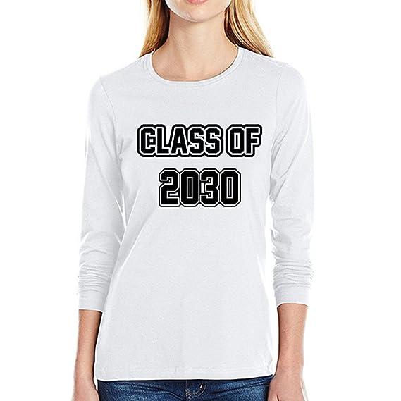Camisas para Mujeres SUNNSEAN Tallas Grandes Sólido Cartas de Impresión Class of 2030 Mangas Largas Básica Casual Camisa de Manga Larga Blusa Camisetas: ...