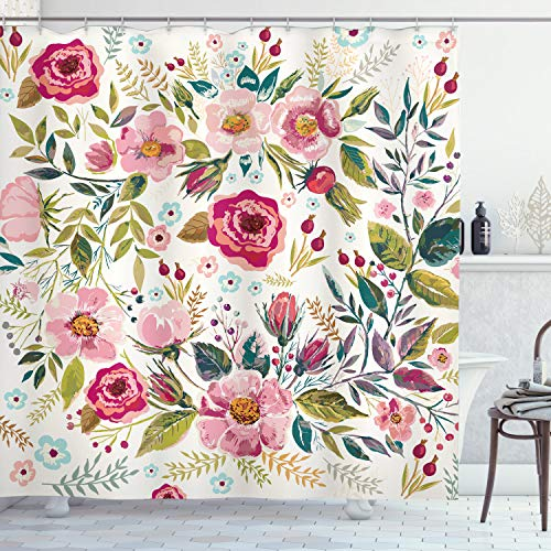 """Ambesonne Floral Shower Curtain, Shabby Form Flowers Roses Petals Dots Leaves Buds Spring Season Theme Image Artwork, Cloth Fabric Bathroom Decor Set with Hooks, 70"""" Long, Magenta"""