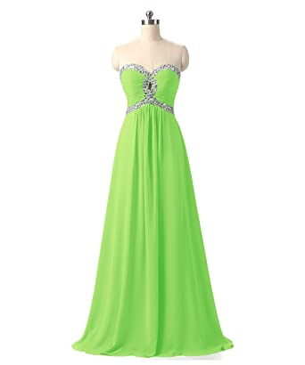 CEZOM Sweetheart Beads Chiffon Prom Dresses Lace Up Party Gowns Apple Green