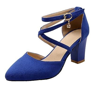 YE Damen Spitze Riemchen Blockabsatz High Heel Pumps mit Schnalle und 7cm Absatz Elegant Schuhe