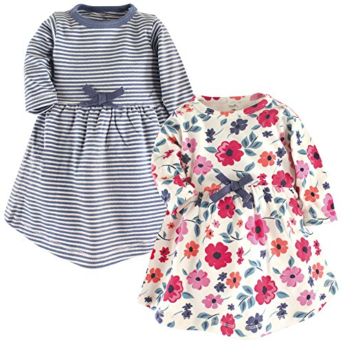 Touched by Nature Baby Girl Organic Cotton Dresses, Garden Floral Long Sleeve 2 Pack, 12-18 Months (18M)