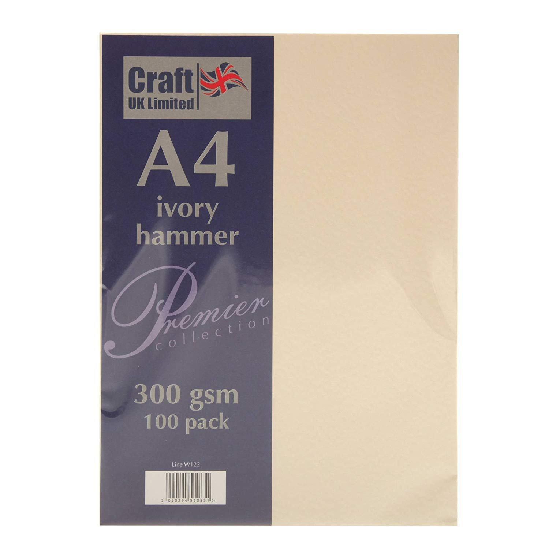 Craft UK Karton, A4, elfenbeinfarben, gehämmert, glatt, 100 bis 500 Blatt, 300 g m², elfenbeinfarben, gehämmert B07FSV4F22   Hat einen langen Ruf