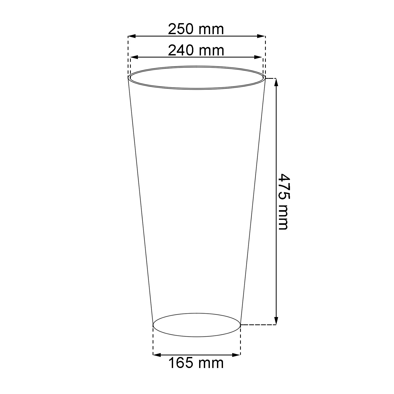 "12 Pezzi Colore/Antracite Prosper Plast Vaso per Piante DTUS250 S433/Sottile /""Tubus/"" 25/x 47,6/cm"