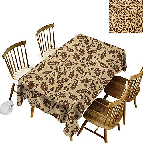Yellow and Brown Rectangular Tablecloth Oak Leaf Acorn Tree Branch Growth Flourishing Nature Buds Mother Earth Print Washable Tablecloth W70 x L90 Redwood