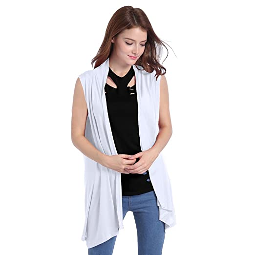 b7c5f174ad0b77 Lusiyu Women s Slim Fit Sleeveless Open Front Cardigan Vest Asymmetric Hem  S White