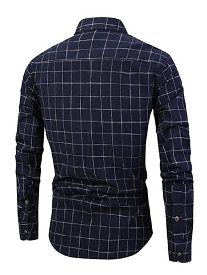 YUNY Mens Plaid Lapel Collar Trim-Fit Casual Long Sleeve Long-Sleeve Shirts Navy Blue S