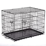 BestPet 30'' Pet Kennel Cat Dog Folding Crate Wire Metal Cage W/Divider