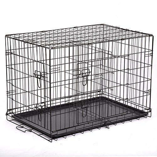 "BestPet 48"" Pet Kennel Cat Dog Folding Steel Crate Playpen Wire Metal Cage W/Divider - Metal Plastic Cage"