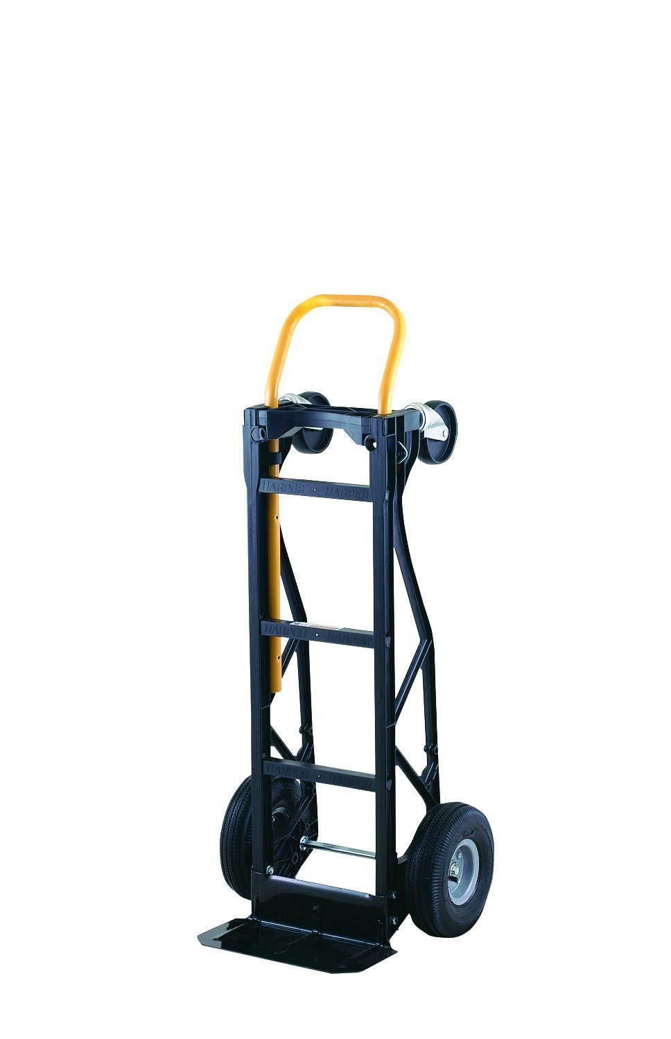 Harper Trucks 700 lb Capacity Glass Filled Nylon Convertible Hand Truck and Dolly with 10'' Pneumatic Wheels