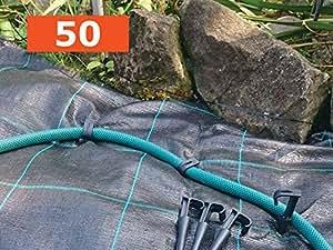 Juego de 100piquetas de anclaje para cubiertas, 14,5cm de largo cada una, ideal para telas de control de malezas, jardinería, membranas, lonas, redes