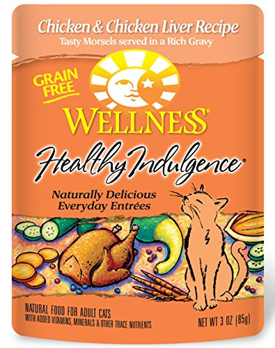 Wellness Healthy Indulgence Natural Grain Free Wet Cat Food, Chicken & Chicken Liver, 3-Ounce Pouch (Pack of 24)