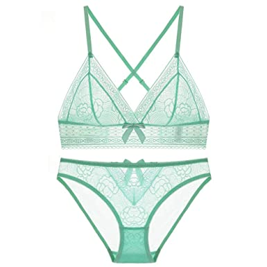 Womens Lingerie Lace Ultra-Thin Transparent Rimless Sexy Bra Set Ladies Triangle Cup Bra Hollow