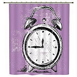 iPrint Shower Curtain,Doodle,Retro Alarm Clock Figure with Grunge Effects Classic Vintage Sleep Graphic,Purple White Black,Polyester Shower Curtains Bathroom Decor Sets with Hooks
