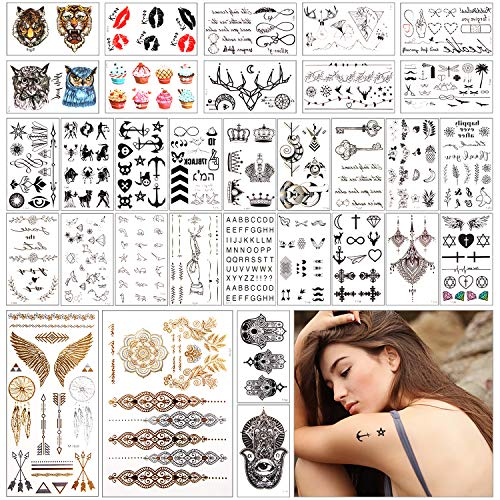 32 Sheets Waterproof Black Tiny Temporary Tattoo Metallic Gold Silver Fake Tattoo Sticker for Body Hand Neck Wrist Art Fashion