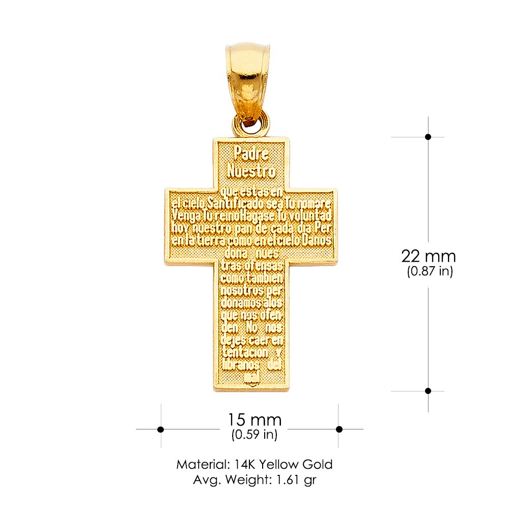 Ioka 14K Yellow Gold Padre Nuestro Religious Cross Charm Pendant For Necklace or Chain