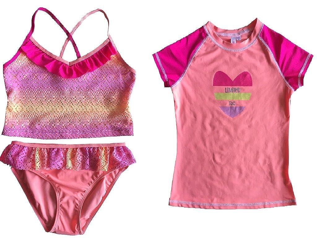 Limited Too Girls's 3 Piece Rashguard Set Swimsuit Swimwear 50+ UV Protection