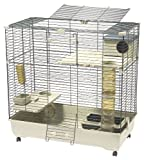 Marchioro Sara 102 C2 Cage for Small Animals with Wheels, 40.25 inches, Beige/Green