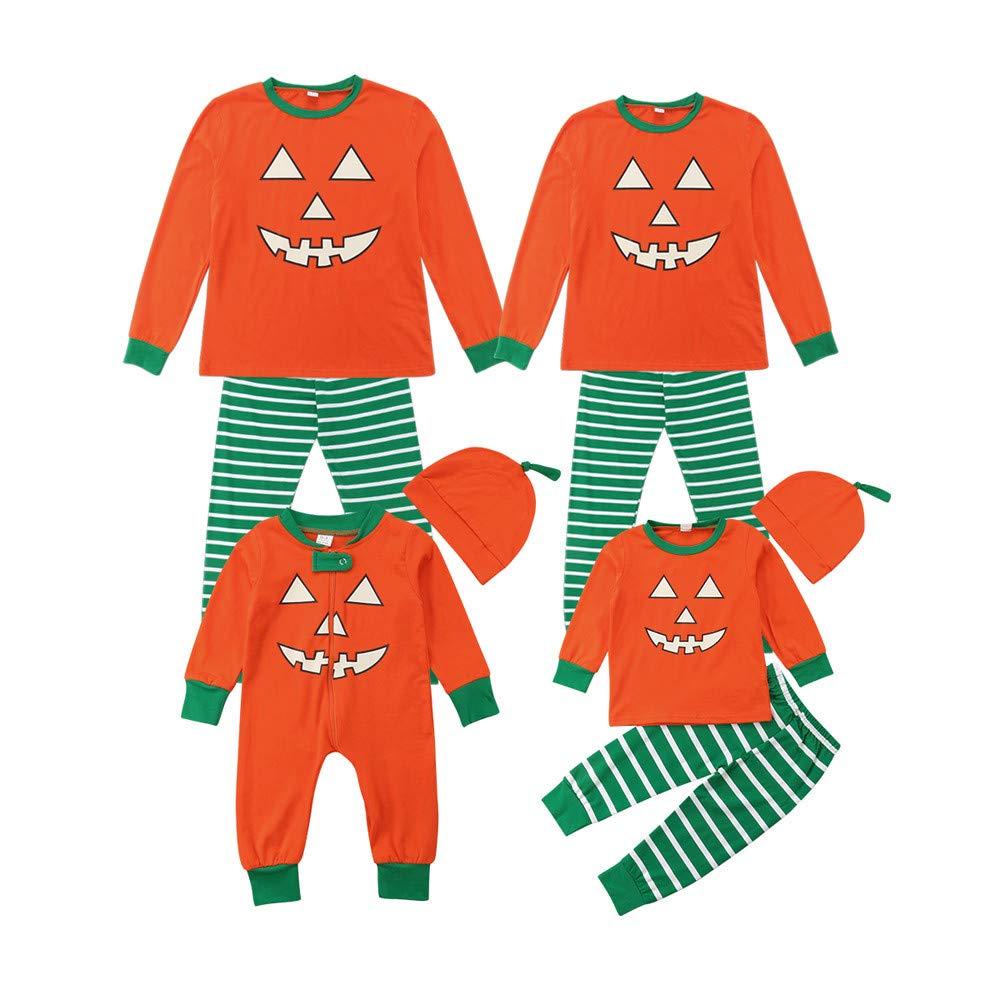 Gufenban Matching Family Pajamas Boys Pjs for Girls Halloween Clothes Women Sleepwear Set (Men-Orange,L)