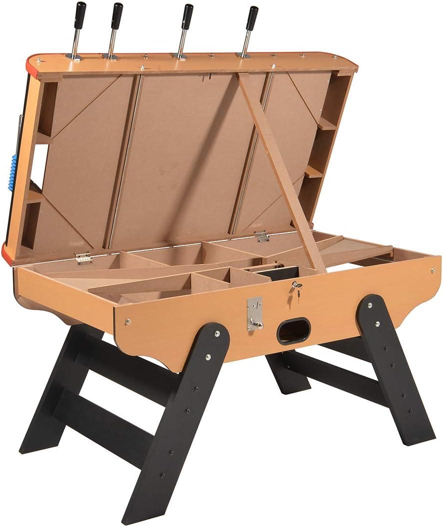 Baby foot -Futbolin madera Bar Deluxe con monedero (desactivable) y balas de futbolín 140 x 75 cm: Amazon.es: Juguetes y juegos