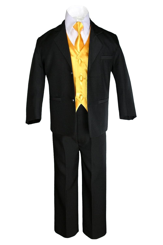Amazon.com: unotux 7pc Boys traje negro con amarillo chaleco ...