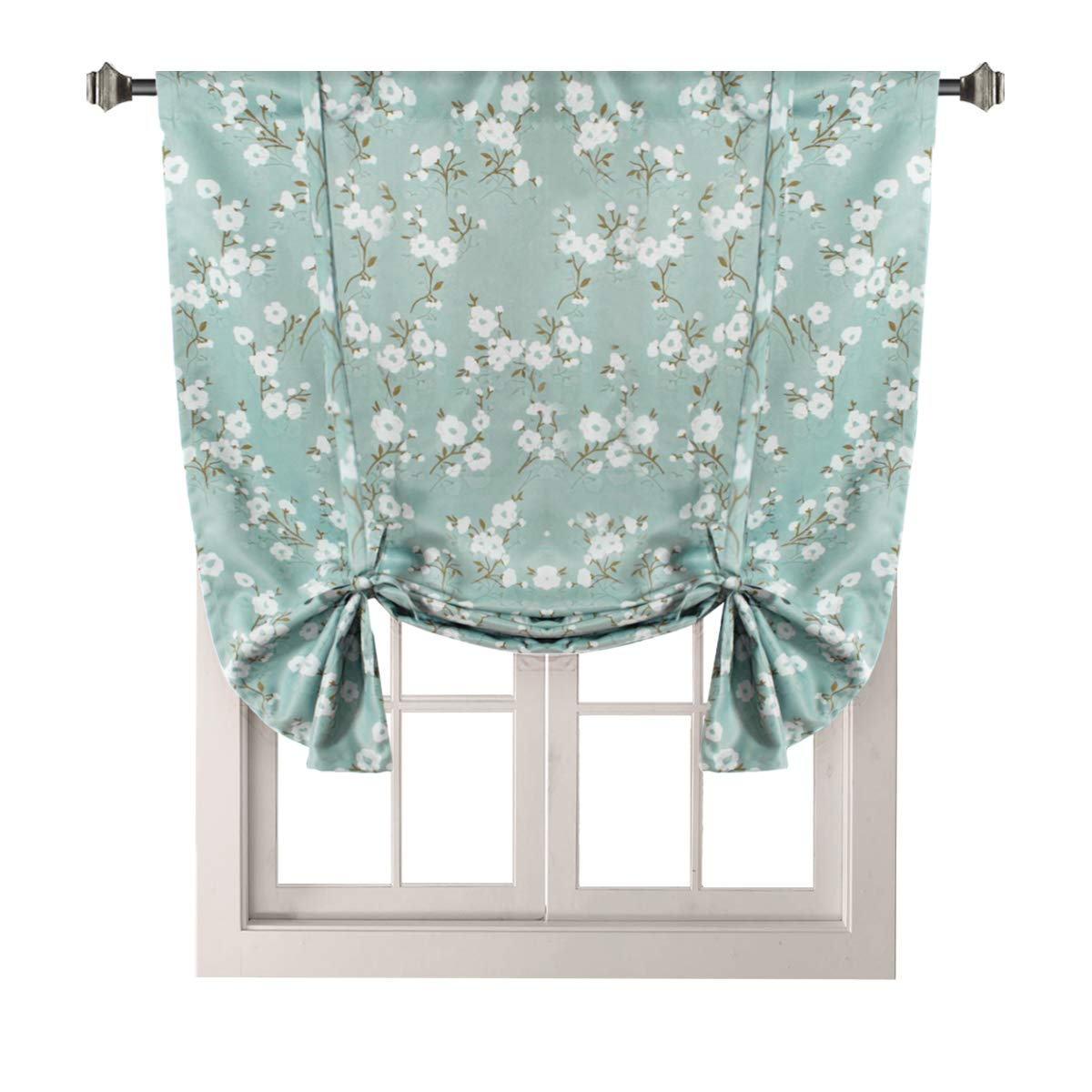 H.VERSAILTEX Traditional Window Drapes Aqua Floral Country Style Pattern Thermal Insulated Blackout Curtain for Living Room Rod Pocket Tie Up Shade Window Treatment Panel, W42 x L63 Inch
