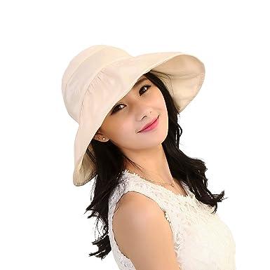 4ca43bb2664 OULII Fashion Wide Brim Sun Hat Summer UV Protection Thin Hat 2 in 1 Beach  Sun