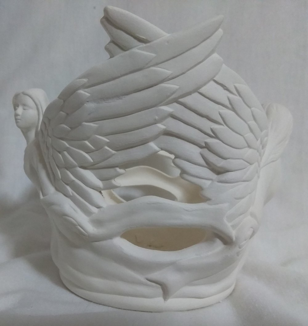 Angel Candleholder 4 x 5 Ceramic Bisque Ready to Paint