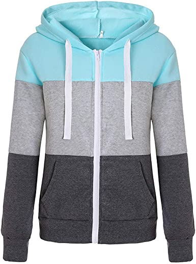 Portazai Womens Hoodie Sweatshirts Long Sleeve Zip up Sweater Shirts Color Block Casual Loose Pullove Tops with Pocket