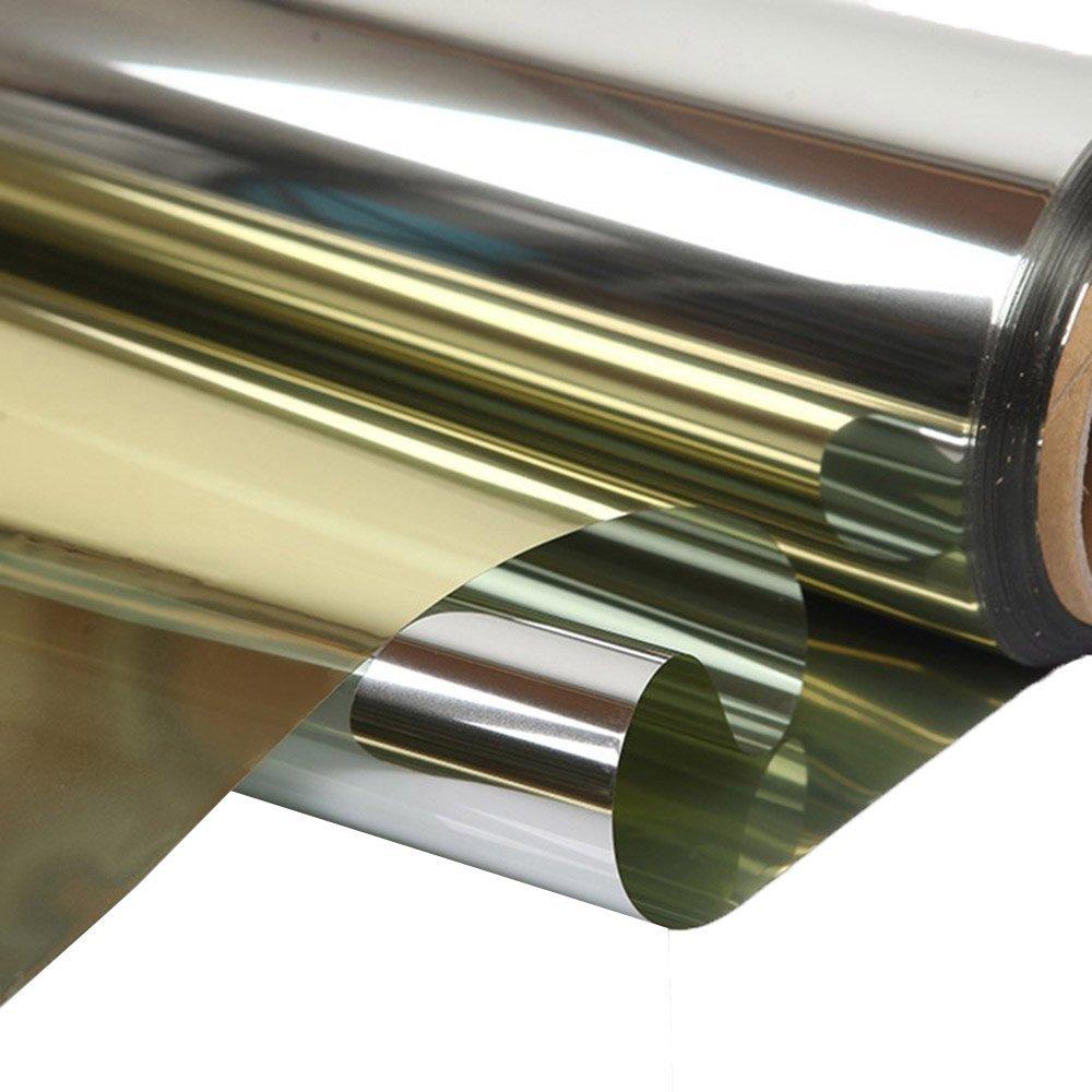 HOHO High Reflective Solar Mirror Window Silver Gold Tint Film One Way Privacy Glass Sticker UV Protection Decoration(80cmx1000cm)