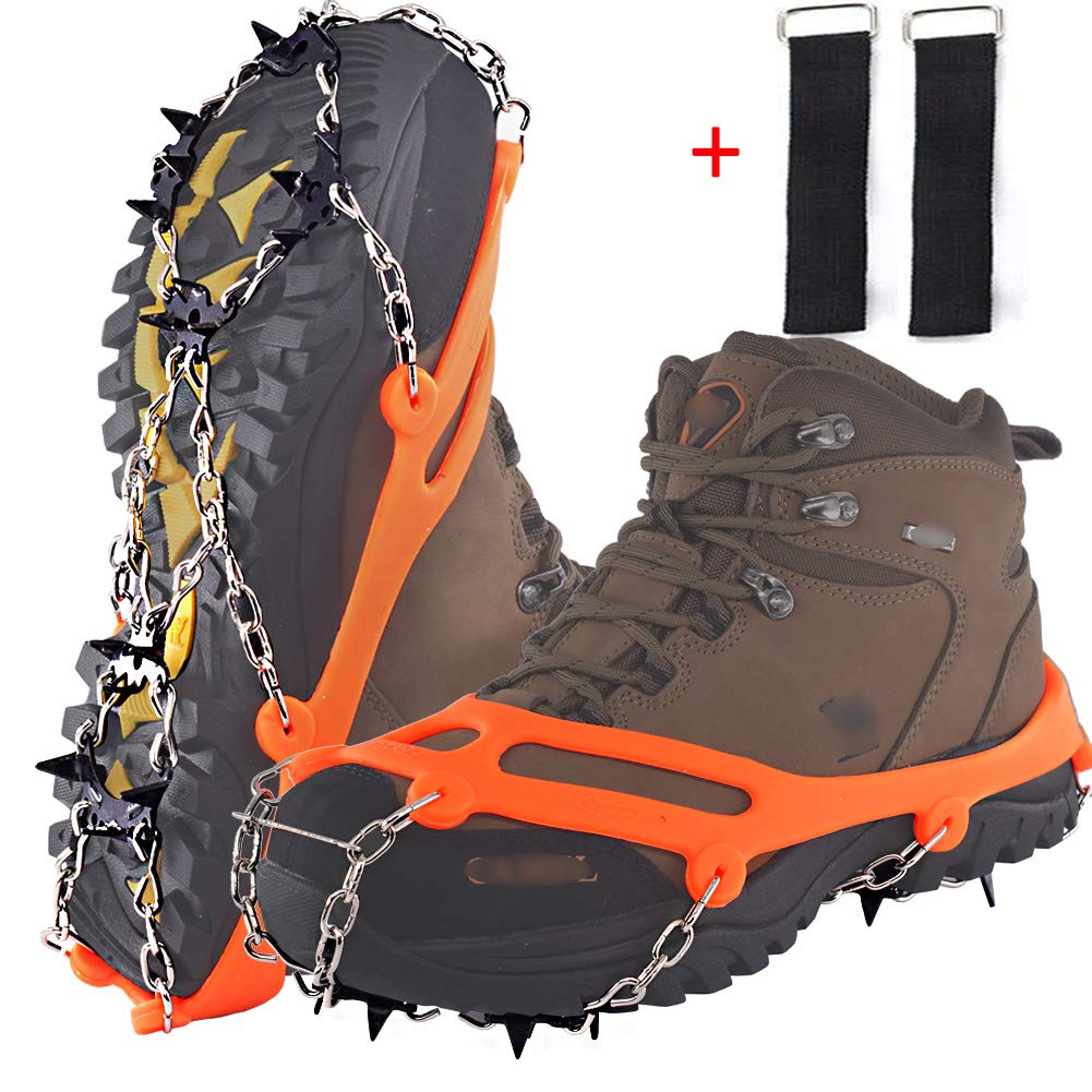 DBlosp Walk Traction Cleats Heavy Duty Trail Spikes Ice Snow Grips Anti Slip Stainless Steel Spikes Footwear Crampons Walking, Jogging Hiking on Snow & Ice (Orange Size:M)