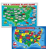 Bundle Includes 2 Items - Melissa & Doug Flip to Win Travel License Plate Game - Wooden U.S. Map Game Board and Melissa & Doug USA Map Floor Puzzle (51 pcs, 2 x 3 feet)