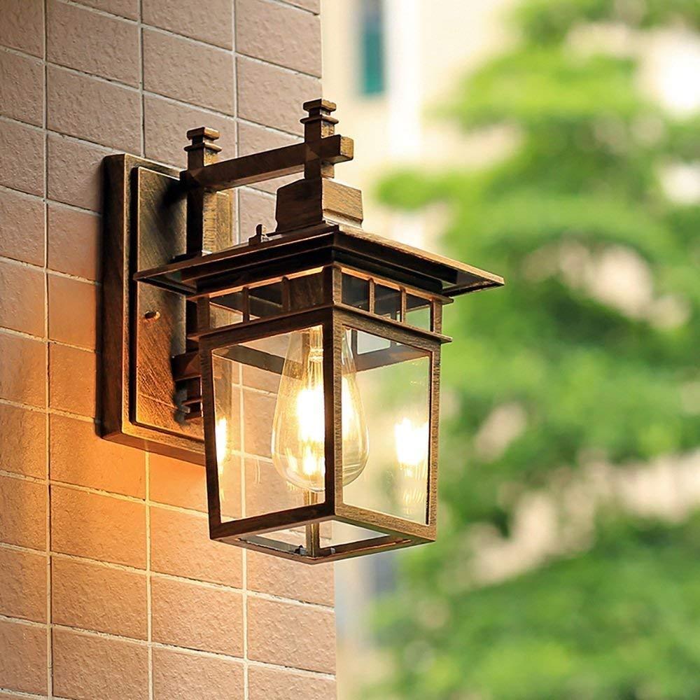 Zhang Ying ZY 1-Light Außenwandleuchten Wandleuchte Lampe Glas Lampshsde E27 Garten Garage Dekorative Beleuchtung Wasserdicht IP55 (Farbe  Stil B)