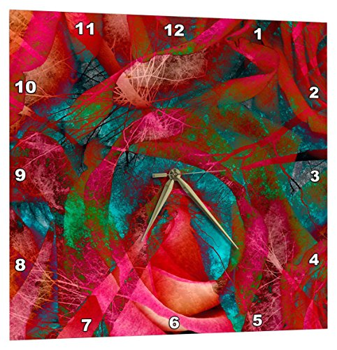 3dRose Artsy Butterfly Illustration in Bright Pink Colors Wall Clock 13x13,