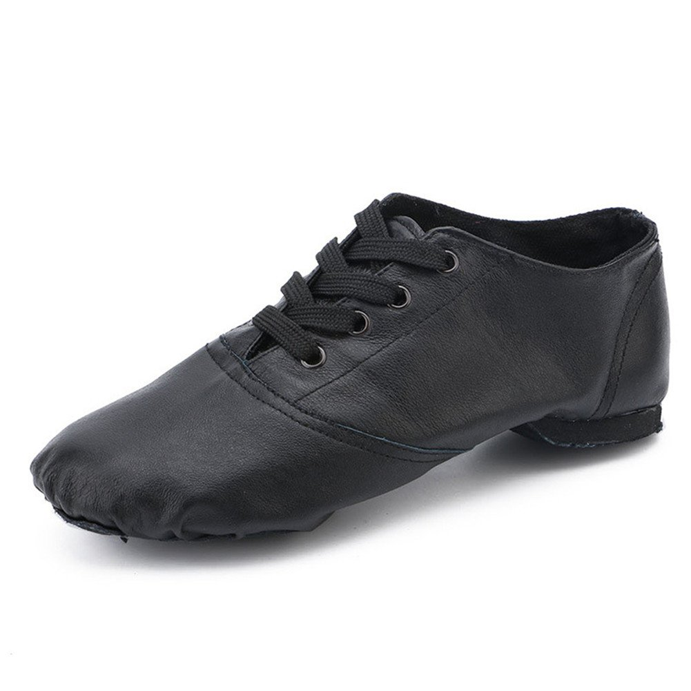 Cheapdancing Black Leather Flat Dance Shoes Practice Jazz Shoes