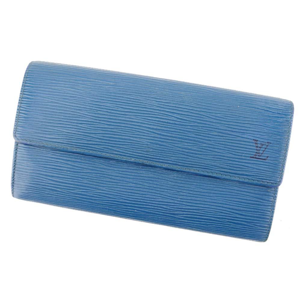(ルイ ヴィトン) Louis Vuitton 長財布 ファスナー付き 財布 ブルー ゴールド ポシェットポルトモネクレディ エピ レディース メンズ 中古 T8366   B07HCCZ6PD