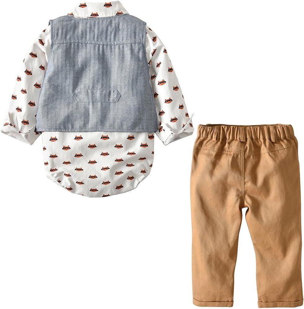 Hose Kleinkinder Gentleman Anzug Baumwolle Set Babyanzug Echinodon Baby Bekleidungsset Junge//Hemdbody mit Fliege Weste