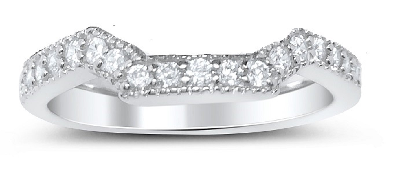 Wedding Band Enhancer Guard .925 Sterling Silver CZ for Women Size 9 by LaRaso & Co